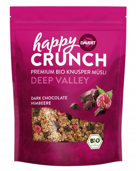 Happy Crunch Dark Chocolate Himbeere 325g
